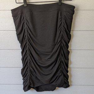 Athleta Odyssey Black Ruched Midi Skirt L